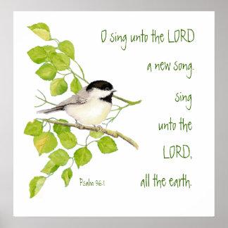 Escritura, inspirada, pássaro do 96:1 do salmo, na poster