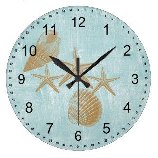 Escudos da praia relógio para parede