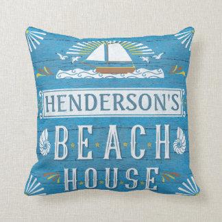 Escudos náuticos do veleiro da casa de praia almofada