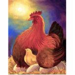 Escultura da foto da galinha da flor da papoila da escultura de foto