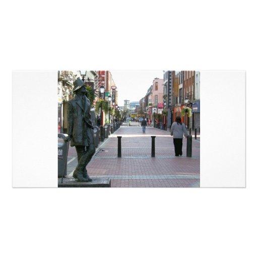 Escultura de Dublin Ireland - de James Joyce Cartao Com Foto