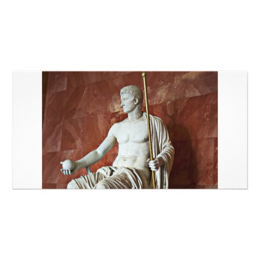 Escultura do homem romano com bola e dos funcionar cartao com foto