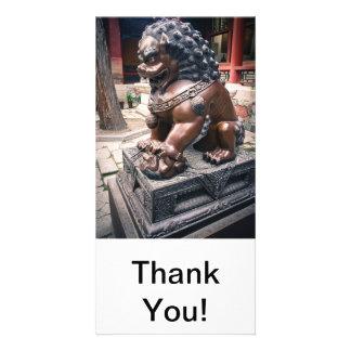 Escultura do leão cartão com foto