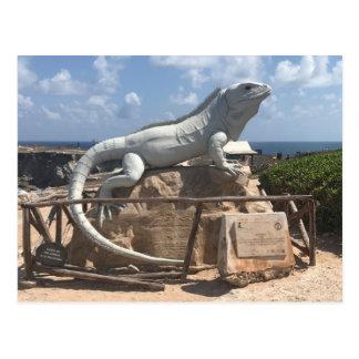 Escultura Isla Mujeres da iguana, cartão de México