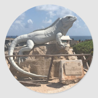 Escultura Isla Mujeres da iguana, etiquetas de
