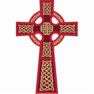 Escultura vermelha da foto da cruz celta esculturafoto
