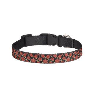 Escuro - coleira de cão floral vermelha