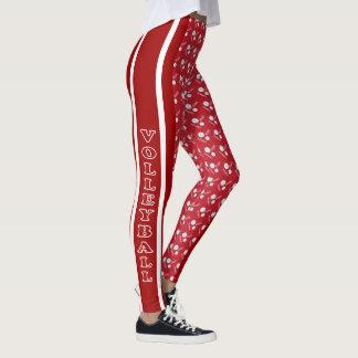 Escuro - teste padrão vermelho e branco do leggings