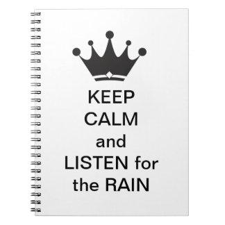 Escute o caderno espiral da chuva