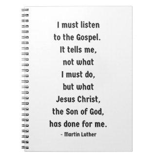 Escute o caderno espiral do evangelho