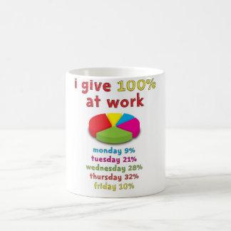 esforço 100% no trabalho caneca de café