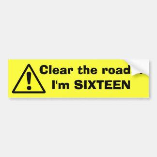 Espaço livre do PERIGO a estrada… eu sou DEZESSEIS Adesivo Para Carro