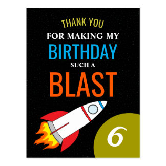 Espaço Rocket ao obrigado do aniversário do miúdo Cartão Postal