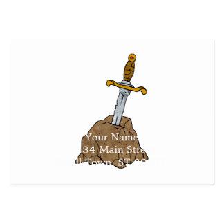 espada dos desenhos animados na pedra cartão de visita grande