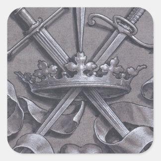 Espadas coroa e coração adesivo quadrado