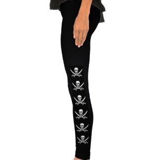 espadas cruzadas crânio do pirata leggings