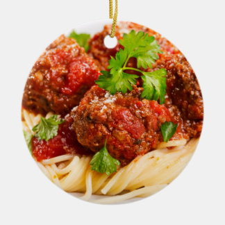 Espaguetes & Meatballs italianos Ornamento De Cerâmica Redondo