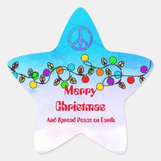 Espalhe a paz na etiqueta do Natal da terra
