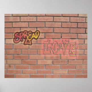Espalhe o poster da arte do sinal dos grafites do