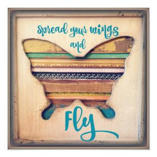 Espalhe suas asas e voe Cardstock inspirado Convite Quadrado 13.35 X 13.35cm