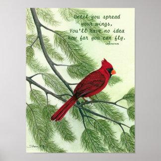 Espalhe suas asas - poster cardinal vermelho