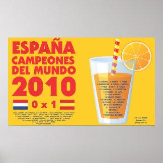 España 2010 World Champions Futbol Pôster