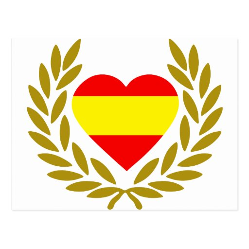 espana-laurel-heart-2. cartões postais