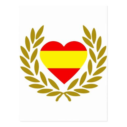 espana-laurel-heart-2. cartão postal