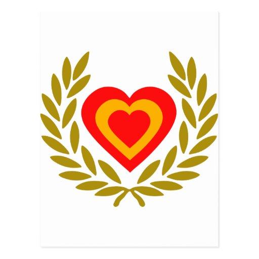 espana-laurel-heart. cartoes postais