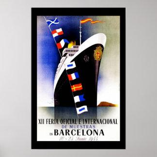 Espanha de Barcelona do vintage do poster de viage