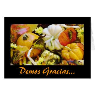 Espanhol: Acção de graças/Dar Gracias Cartão Comemorativo