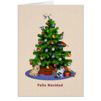 Espanhol, árvore do Feliz Natal, pássaros, gato, Cartão Comemorativo