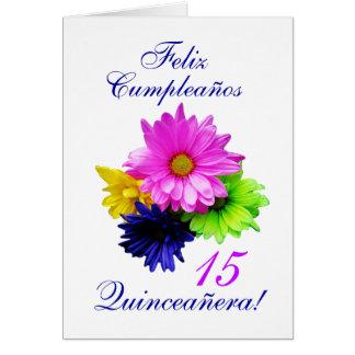 Espanhol: B-dia de Quinceanera 15 y.o. Cartão Comemorativo