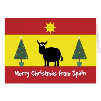 Espanhol bonito Bull, bandeira & cartão das