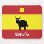 Espanhol engraçado Bull & bandeira de Sun España Mousepads