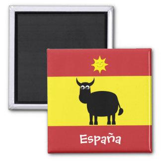 Espanhol engraçado Bull & ímã da bandeira de Sun E Ímã Quadrado
