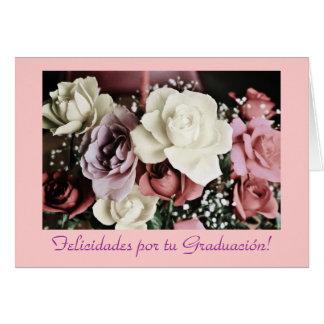 Espanhol: Flores de Graduacion /Graduation Cartão Comemorativo