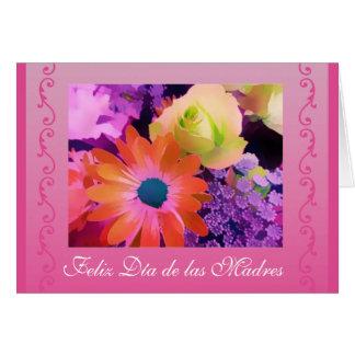 Espanhol: Flores do dia das mães/diâmetro de las Cartão Comemorativo