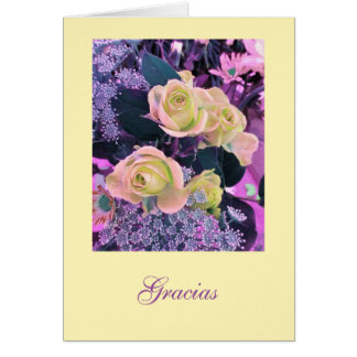 Espanhol: Gracias! flores cor-de-rosa e amarelas Cartão Comemorativo