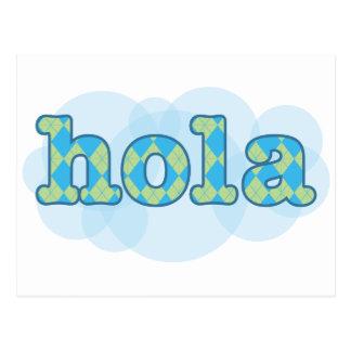 Espanhol - Hola com teste padrão do argyle Cartao Postal