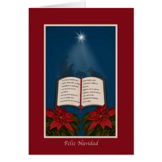 Espanhol, mensagem aberta do Natal da bíblia Cartão Comemorativo