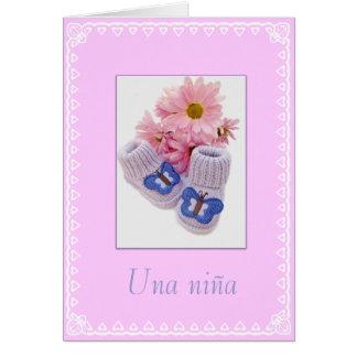 Espanhol: Niña de Una! Bebé Cartão Comemorativo