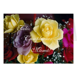 Espanhol: O aniversário da mãe de Cumpleaños/Mamá/ Cartão Comemorativo