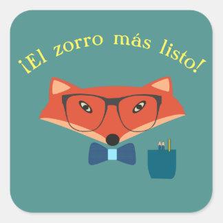 """Espanhol """"o Fox o mais inteligente!"""" Etiqueta"""