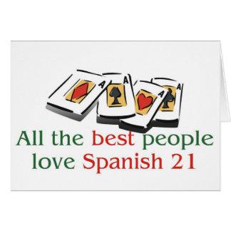 Espanhol os 21 cumprimentos do amante cartão comemorativo