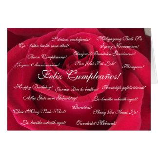 Espanhol: Roja/aniversário de Cumpleanos rosa Cartão Comemorativo