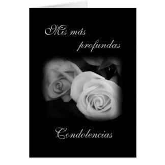 Espanhol: Rosa preto & branco - Condolencias Cartão