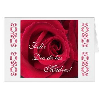 Espanhol: Rosa vermelha do dia das mães Cartão Comemorativo
