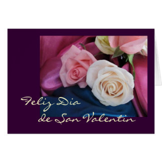 Espanhol: San Valentin: rosas do seda y Cartão Comemorativo