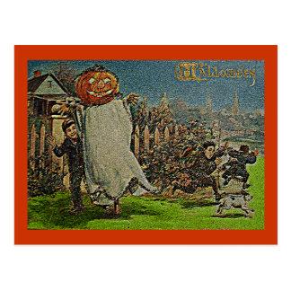 Espantalho e meninos o'Lantern de Jack do vintage Cartão Postal